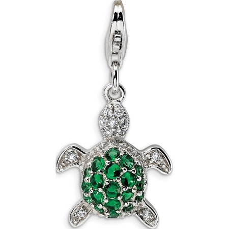 Green Turtle Charm (Leslies Fine Jewelry Designer 925 Sterling Silver Green & Clear CZ Turtle w/Lobster Clasp (15x39mm) Pendant Gift)