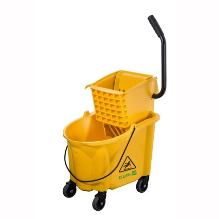 Rw Clean 38 Qt Yellow Plastic Mop Bucket With Side Press