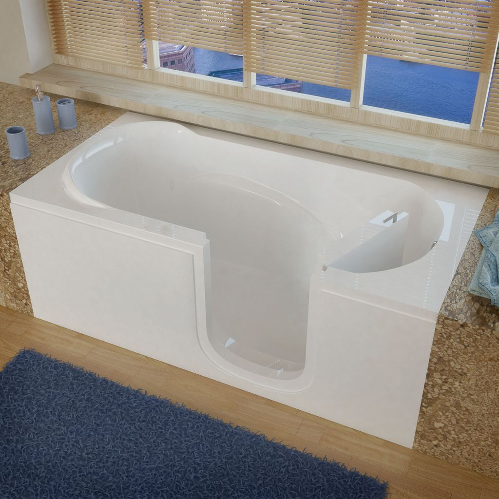 Meditub 30x60 Right Drain White Soaking Step In Bathtub