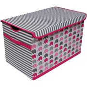 Bacati - Elephants Pink/Gray Aqua/Lime/Grey Cotton Percale Fabric covered Storage, Toy Chest, 24.5 L x 15 W x 14 H inches