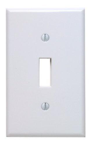 Leviton 88001 White Single Gang Toggle Light Switch Wall Plate by Leviton