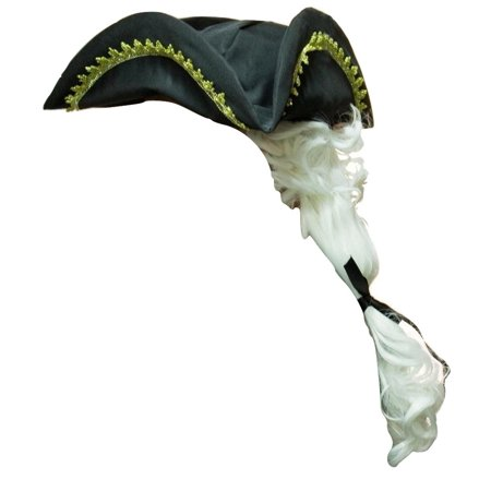 Colonial Geroge Washington Tricorn Tricorne Tri-Corner Hat Ponytail Wig -