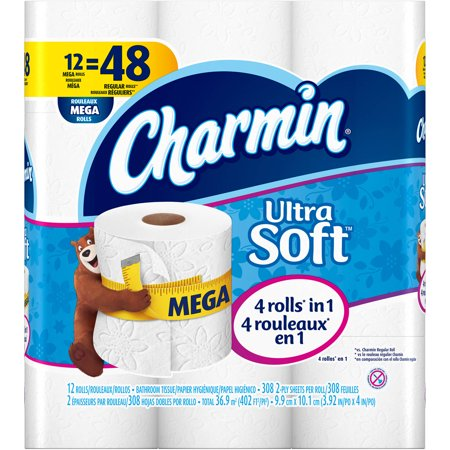 Charmin Ultra Soft Mega Roll Toilet Paper 308 Sheets 12