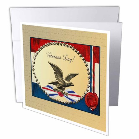 3dRose Veterans Day, Bronze Eagle with Gold Stars and Patriotic Banner, Greeting Cards, 6 x 6 inches, set of 12