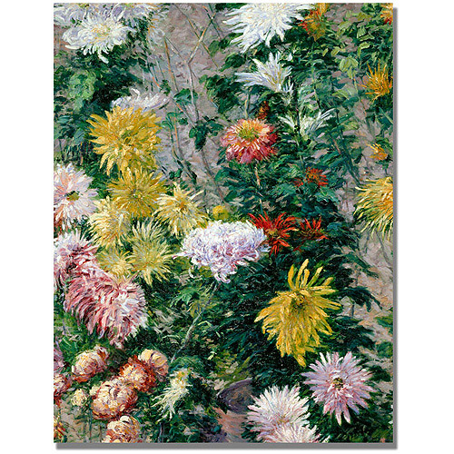 "Trademark Fine Art ""White And Yellow Chrysanthemums"" Canvas Wall Art by Gustave Cailebotte"