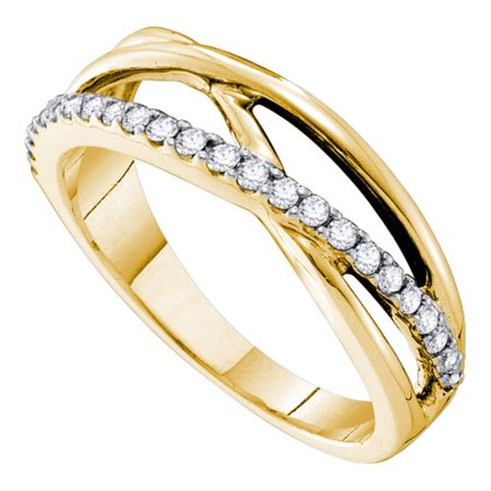 - 14kt Yellow Gold Womens Round Diamond Crossover Band Ring 1/4 Cttw