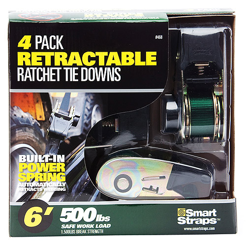 SmartStraps 6' 1500 lbs. Retractable Ratchet, Green 4 Pack