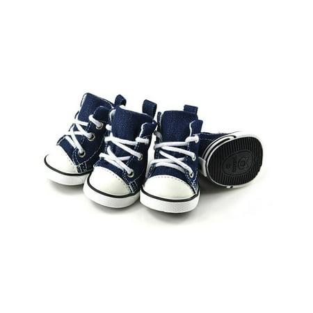 Lavaport 4pcs Pet Puppy Denim Sports Shoes Sneakers For Small Dogs Denim Dog Cap
