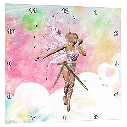 3dRose A little fairy kiss a magic frog on a pink background, Wall Clock, 10 by - Fairy Clock