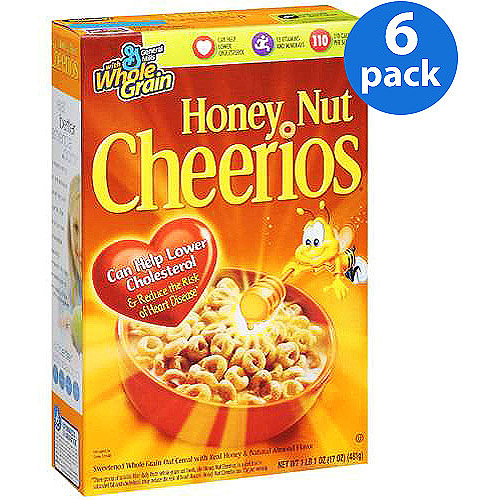 Honey Nut Cheerios Cereal, 17 oz (Pack of 6)