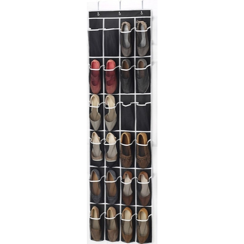 Over the Door Shoe Organizer - 24 Breathable Pockets, Hanging Shoe Holder for Maximizing Shoe Storage (Black)