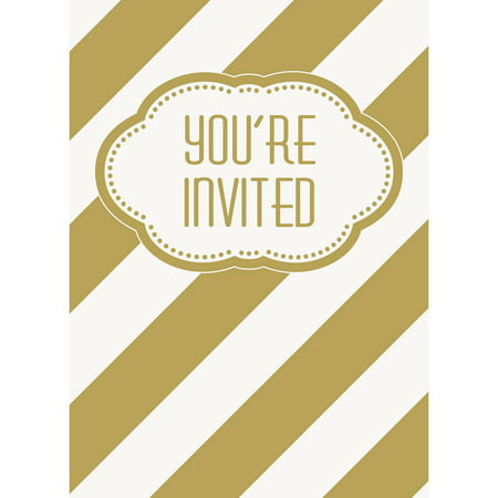 Golden Birthday Invitations, 8ct - Golden Ticket Birthday Invitation