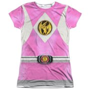 Power Rangers - Pink Ranger Emblem - Juniors Cap Sleeve Shirt - Medium