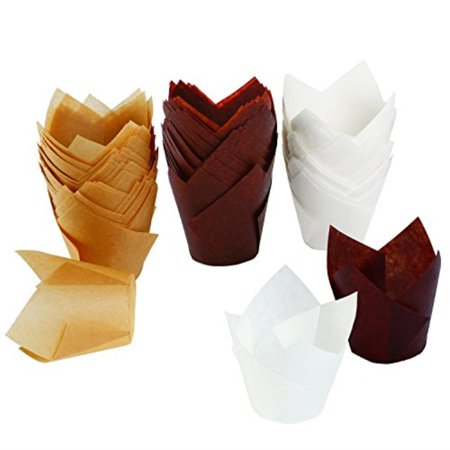 Paper Cupcake Baking Cups (Resinta 150 Pieces Tulip Baking Paper Cups Cupcake Muffin Liners Wrappers, Brown, Natural and)