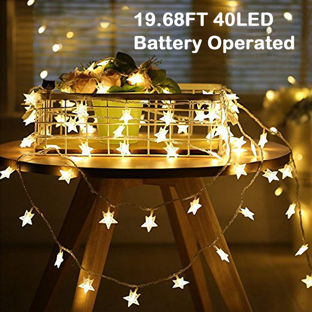 LED Star Lights Battery Operated Flower Solar Fairy String Indoor Party Garden