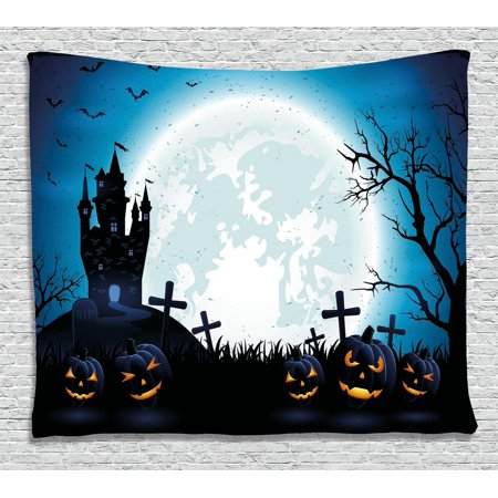 Halloween Decorations Tapestry, Spooky Concept with Scary Icons Old Celtic Harvest Figures in Dark Image, Wall Hanging for Bedroom Living Room Dorm Decor, 60W X 40L Inches, Blue, by Ambesonne](Halloween Celte)