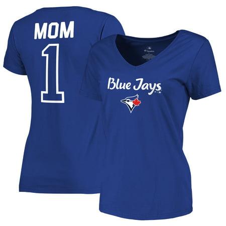 Toronto Blue Jays Fanatics Branded Women's 2019 Mother's Day #1 Mom V-Neck T-Shirt - Royal - Halloween Shops Toronto