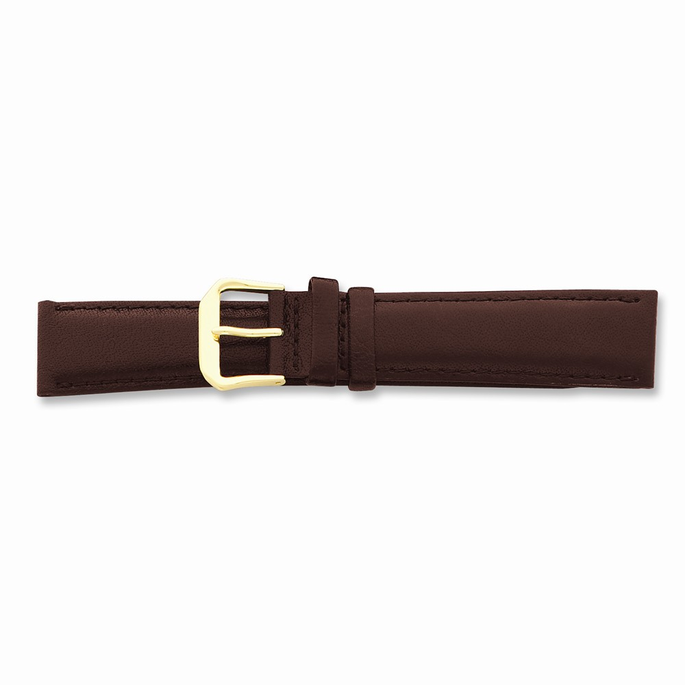 20mm Long Brown Smooth Lthr Gld-tone Buckle Watch Band