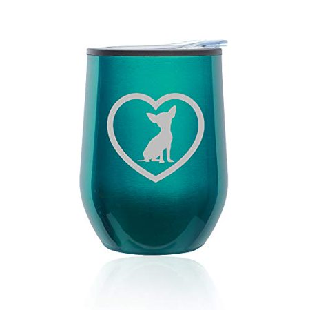 Stemless Wine Tumbler Coffee Travel Mug Glass with Lid Chihuahua Heart (Turquoise Teal)