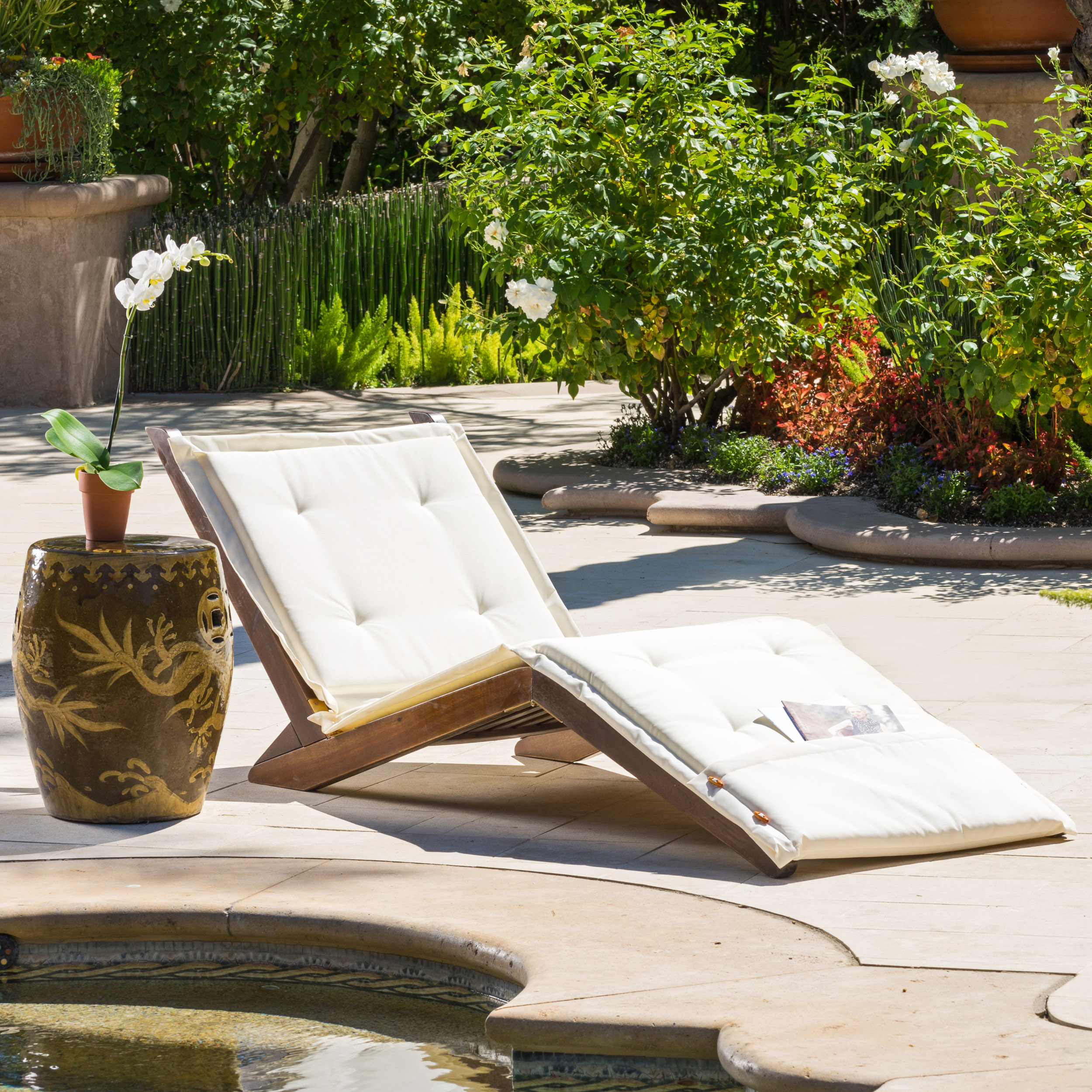 Reilly Outdoor Wood Folding Lounger