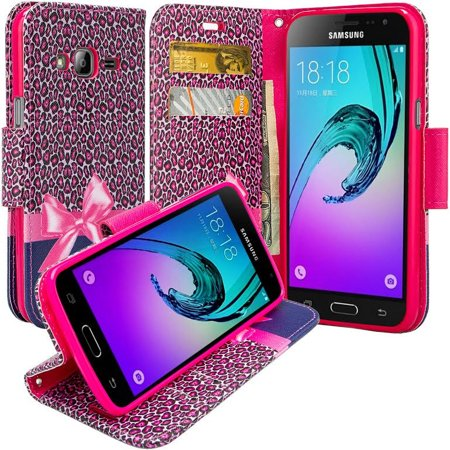 Samsung Galaxy J1 2016 Case |Galaxy Luna Case | Galaxy Amp 2 Case| Galaxy Express 3 Magnetic Flip Fold[Kickstand] Pu Leather Wallet Case with ID & Credit Card Slots & Wrist Strap - Hot Pink Cheetah (Cheetah Print House Phone)
