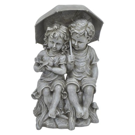 Three Hands Boy and Girl Under Umbrella Garden Statue - Garden Girls