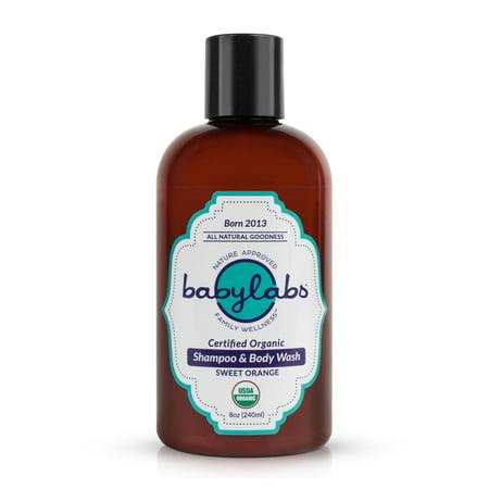 BABYLABS USDA Certified Organic Gentle Baby Shampoo & Body Wash (Sweet Orange)