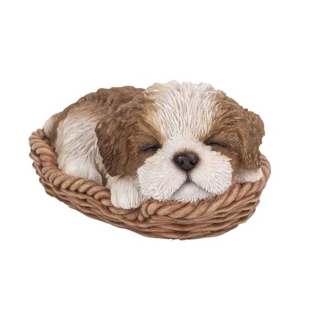 Puppy Dog Resin Figurine (Shih Tzu Puppy in Wicker Basket Pet Pals Collectible Dog Figurine 6.5 Inches L )
