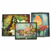 Elegant 3 Piece Wooden Tray With Butterfly Imprint, Multicolor