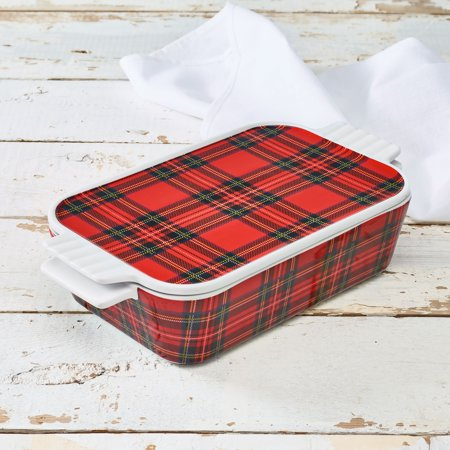 Rabbit Covered Dish - Highland Plaid Casserole Baking Dish w/Lid, Walmart Exclusive