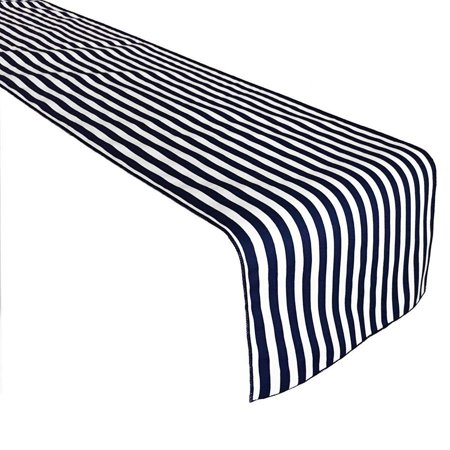 Lovemyfabric Poly Cotton 1 2 Inch Striped Navy And White Print Table Runner For Party Wedding Bridal Shower Birthdays Baby Shower Home Decor And