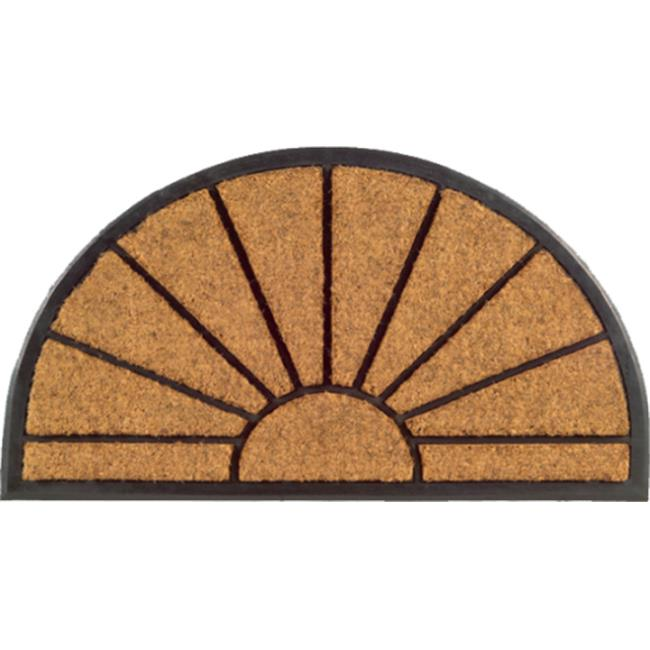Imports Decor 700RBCM Half-Round Rubber Back Coir Doormat  Sunburst