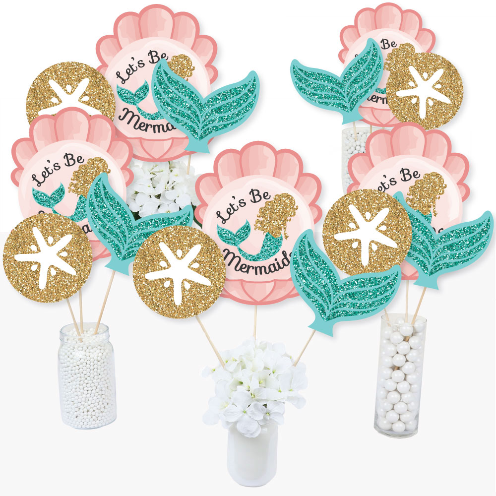 Let's Be Mermaids - Baby Shower or Birthday Party Centerpiece Sticks - Table Toppers - Set of 15
