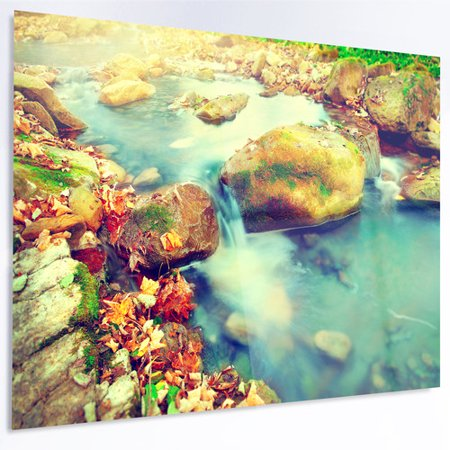 Design Art 'Mountain River with Stones' Photographic Print on Metal