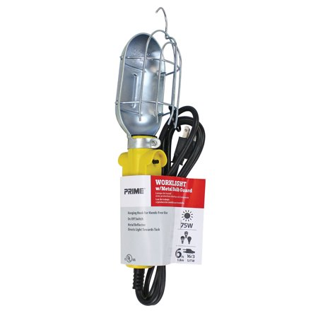 Prime TL010606 6' Ft 75W Work Light With Metal Guard & Convenience