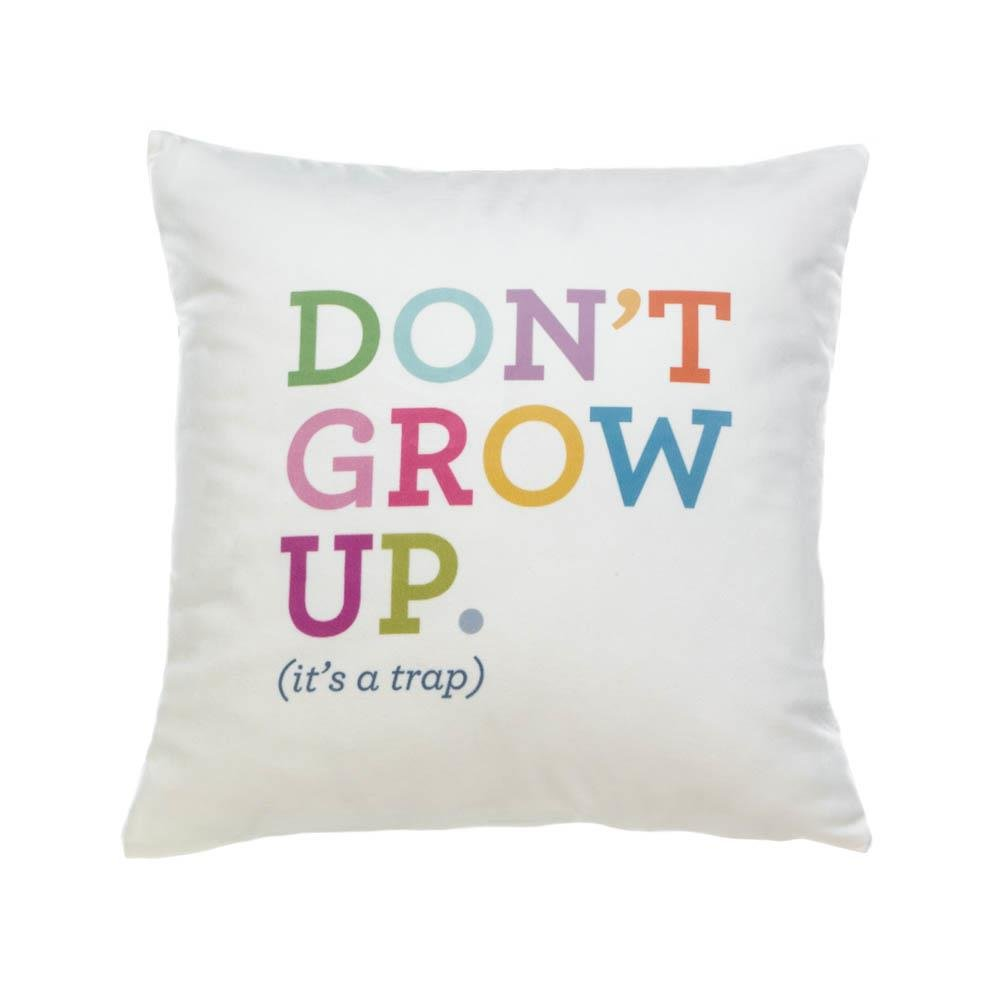 Couch Throw Pillows, Decorative Throw Pillow White With Fun Text Polyester by Accent Plus
