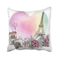 ARTJIA White Love Paris Sketch Travel Vintage Beautiful Creative Cute Day Pillowcase Cover 18x18 inch