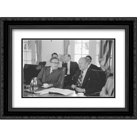 - Secretary of State Henry Kissinger and President Gerald Ford seated at a conference table in the White House, during a cabinet meeting 24x16 Double Matted Black Ornate Framed Art Print