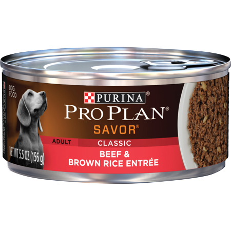 (24 Pack) Purina Pro Plan Pate Wet Dog Food, SAVOR Classic Beef & Brown Rice Entree, 5.5 oz. Cans