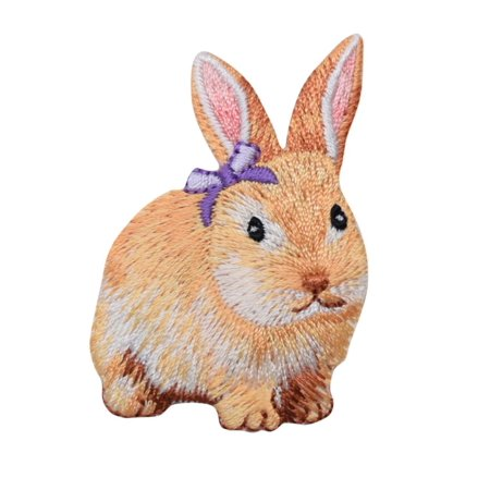 Bunny Embellishment - Bunny Rabbit - Hare - Lavender Bow - Embroidered Patch /Iron on Applique