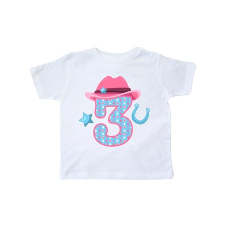 Three with Cowgirl Hat Star and Horseshoe Toddler T-Shirt](Cowgirl Items)