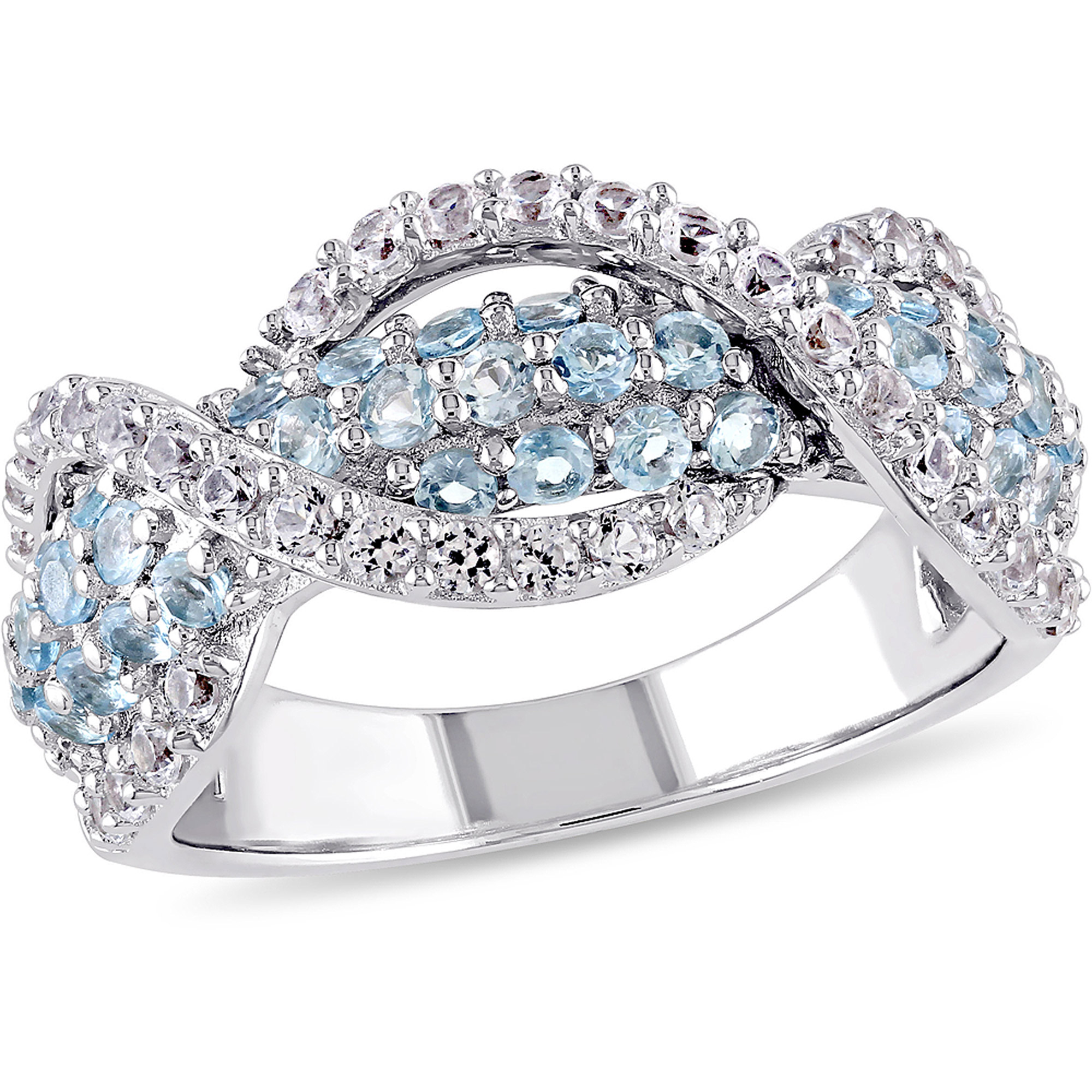 1-3/4 Carat T.G.W. Blue Topaz and Created White Sapphire Sterling Silver Three Row Infinity Ring
