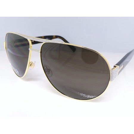 Iced Out Gold Aviator Authentic Gucci Gg 1924 Sunglasses With Genuine Diamonds