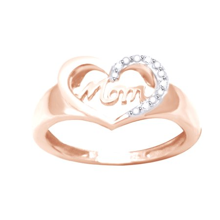 Mother Of Pearl Rose Ring - White Natural Diamond Accent Mom & Heart Ring In 14k Rose Gold Over Sterling Silver (0.02 Cttw)