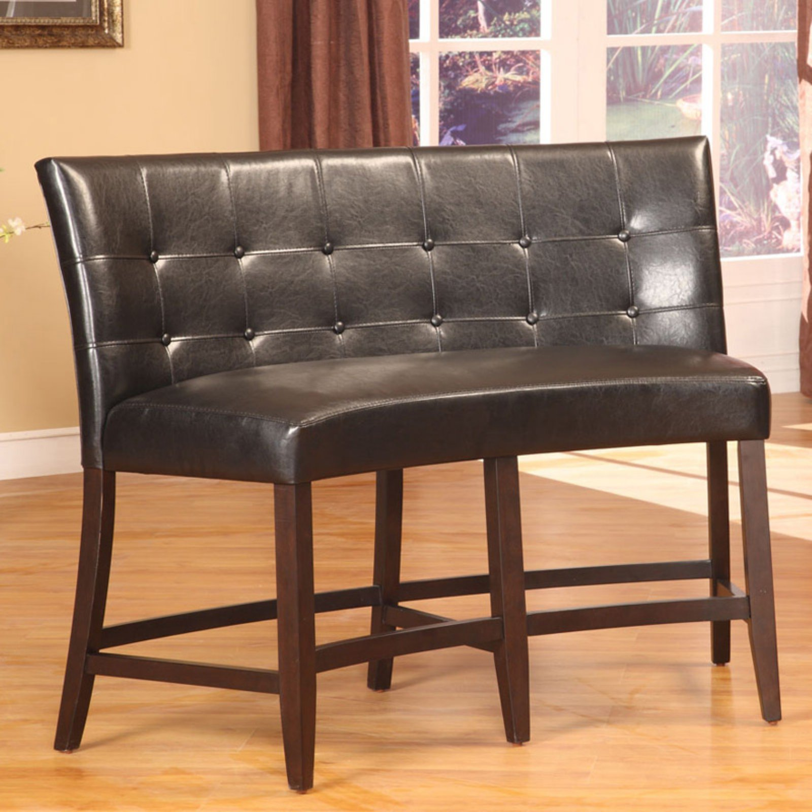 Bossa Counter Height Banquette - Black Leatherette
