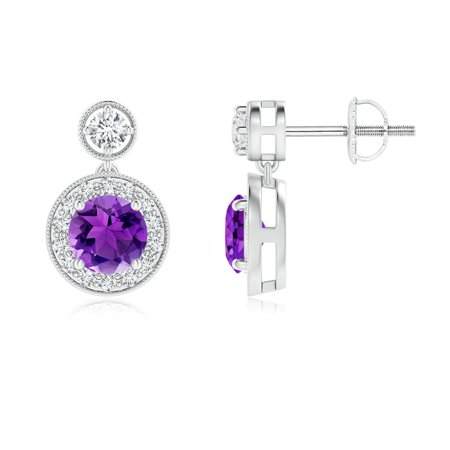 Dangling Amethyst and Diamond Halo Earrings with Milgrain in 14K White Gold (5mm Amethyst) - SE1066AMD-WG-AAA-5 Ocz Platinum 1066