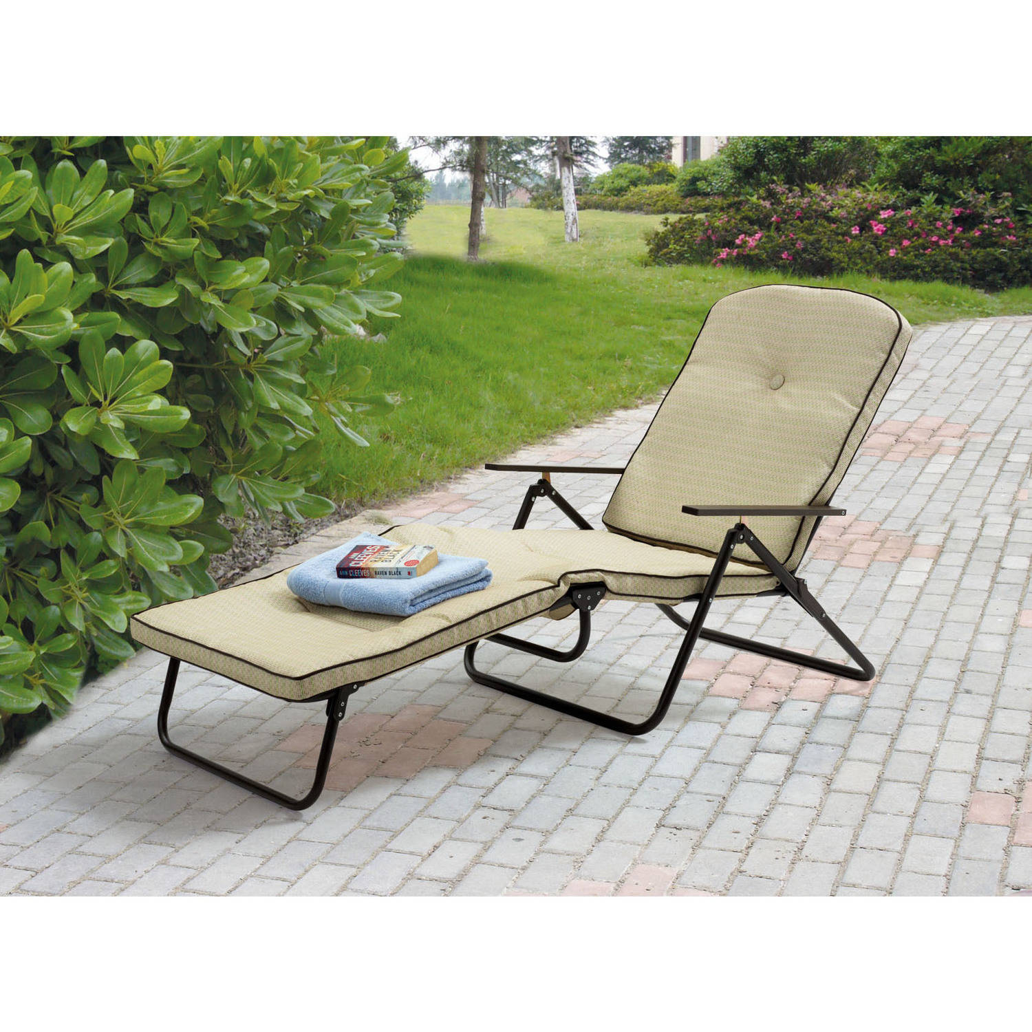 Mainstays Sand Dune Outdoor Padded Folding Chaise Lounge, Tan   Walmart.com