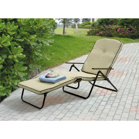 Mainstays Sand Dune Outdoor Padded Folding Chaise Lounge