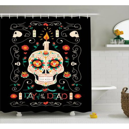 Sugar Skull Shower Curtain Calavera Head With A Burning Candle Remembering And Honoring The Dead
