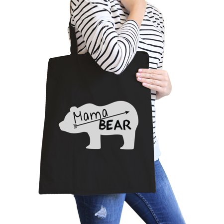 Magma Bags - Mama Bear Black Canvas Tote Bag Trendy Design Cute Gifts For Her